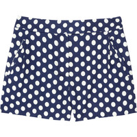 J.Crew | Indigo polka-dot linen and cotton-blend shorts | NET-A-PORTER.COM