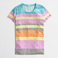 Factory slub stripe colorblock tee