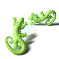 Lizard Stud Earrings, Lime Green Acrylic, Surgical Steel Hypoallergenic Posts
