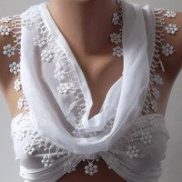 White and Elegance Shawl / Scarf with Lacy Edge