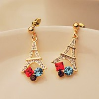 Eiffel Tower Colorful Rhinestone Fashion Earrings | LilyFair Jewelry