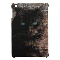 Graffiti Cat, Blue Eyed Black Cat on Brick Wall iPad Mini Cases from Zazzle.com
