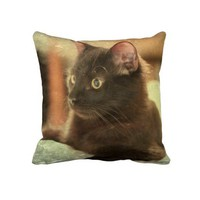 Earthtones Black Cat on Stone Background Pillows from Zazzle.com