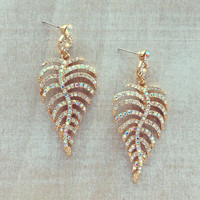 Pree Brulee - Dazzling Aurora Leaf Earrings