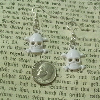 White Skull Dangle Pierced Womens Earrings