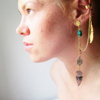 Animal Medicine. Single Earring With Ear Cuff. Stone & Horse Totem Arrowhead. One of a Kind