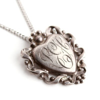 Vintage Initialed Heart Necklace - Sterling Silver Sweetheart Filigree 1940s Jewelry / Sweetheart Monogram
