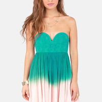 Tango on the Terrace Strapless Teal Ombre Dress