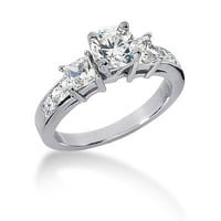 14K White Gold Round &amp; Princess Cut Diamond Promise Engagement Ring (1.25ct.tw, HI Color, SI2 Clarity)