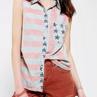 Urban Outfitters - BDG Flag Print Sleeveless Chambray Shirt