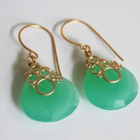 Chryso Chalcedony Quartz Dangle Drop Earrings