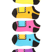 Domo Neon No-Show Socks 5-Pack | Hot Topic