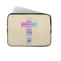 Pink Purple Aztec Pattern Cross Watercolor Paint Laptop Sleeve from Zazzle.com