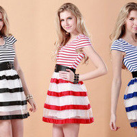 cute Organza navy stripe dress