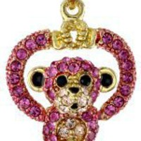 "Andrew Hamilton Crawford ""Sparkling"" Monkey Pink Necklace"