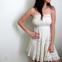 Vintage White Lace Prairie Dress See Through Eyelet Strapless Flowy Indie Hippie Gypsy