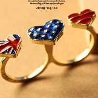 Vintage Three Heart Shaped Double Finger Rings at Online Jewelry Store Gofavor