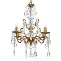 Gallery 4-light Gold Wrought Iron and Crystal Chandelier | Overstock.com