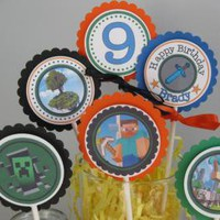 Minecraft Personalized Cupcake Toppers Birthday party cupcake toppers by Time2celebrate