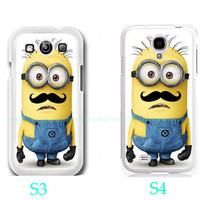 Cool Funny Despicable Me Minion with Cute Mustache-Samsung Galaxy S3 ,Samsung Galaxy S4 ,you can choose S3 or S4-Includes screen protector
