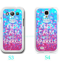 Keep calm and Sparkle-Samsung Galaxy S3 ,Samsung Galaxy S4 ,you can choose S3 or S4-Includes screen protector and cleaning cloth