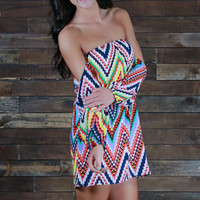 Keep Calm and Chevron Off the Shoulder Dress