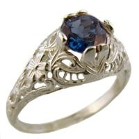 Antique Style Sterling Silver Filigree 1.00ct London Blue Topaz Ring (Sz 7)