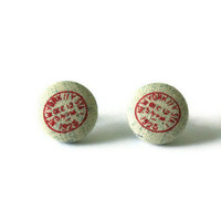 New York Postmark Red Ink Fabric Covered Button Earrings
