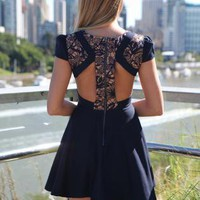 Black Embroidered Top Dress with Skater Skirt & Cutout Back