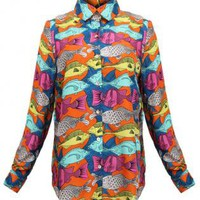 Fish Print Long Sleeve Shirt