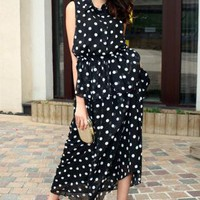 Polka Dot Peplum Chiffon Dress
