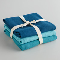 Blue Flour Sack Kitchen Towel, Set of 3