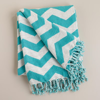 Turquoise and White Chevron Throw