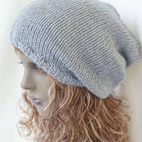Grey  Gray Oversized Knitted Vegan Hippie Tam Slouchy Beanie Hat