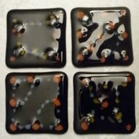 Set Of 4~ 3 Inch Fused Glass Tiles~Black With Multi-Colors~Rounded Edges~Mosaics