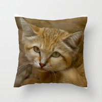 Sand Cat Throw Pillow by catspaws
