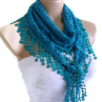 Necklace scarves, Traditional Turkish-style, Fashion scarf, Lace scarf, Dark turquoise scarf, 2013 Trends