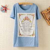 Postoral Applique Little Flowers Slim T-shirt