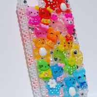 Crystal Bling Decoden Kawaii Hello Kitty Inspired Pink Rainbow Case For Iphone 4