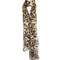 Amazon.com: Long Light Crinkled Scarf Wrap Leopard Animal Print See Through: Clothing