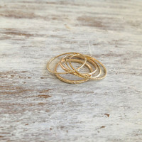Special offer- gold ring, Stacking rings, set of gold rings, 5 gold rings, knuckle rings, thin ring, hammered ring, tiny ring