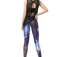 Starry Night — Blue Galaxy Color Printing Leggings Pant