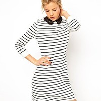 ASOS Striped Dress With Lace Collar at asos.com