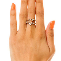 MKL Accessories Ring Set Pair Of Hearts in Silver