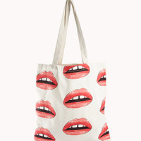 Retro Lips Canvas Tote