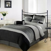 Chezmoi Collection 7 Pieces 3-tone Black Gray Embroidery Duvet Cover Set Queen Size Bedding:Amazon:Home & Kitchen