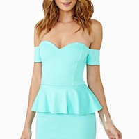Elle Peplum Dress - Mint