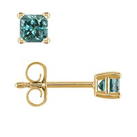 1/4 CT Princess Cut Blue Diamond Stud Earrings 14k Yellow Gold