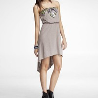 STRAPLESS AZTEC EMBELLISHED HI-LO HEM DRESS