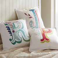 Alphabet Linen Pillow Cover